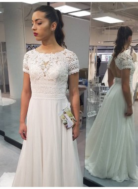 2021 Charming A Line Capped Sleeves Scoop Backless Chiffon Lace Beach Wedding Dresses