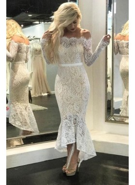 Sexy High Low Off Shoulder Long Sleeves Lace Short Beach Wedding Dresses 2021
