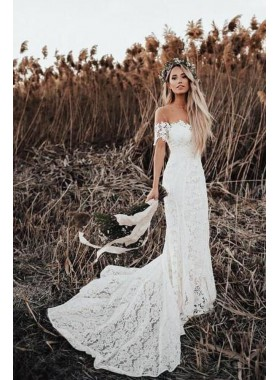 2020 New Arrival Sheath Capped Sleeves Scoop Lace Long Wedding Dresses