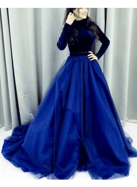 Elegant A Line Two Pieces Royal Blue Long Sleeves Tulle And Velvet Prom Dresses 2020