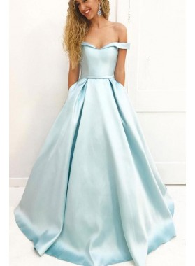 Elegant A Line Satin Off Shoulder Sweetheart Long Light Sky Blue 2020 Prom Dresses
