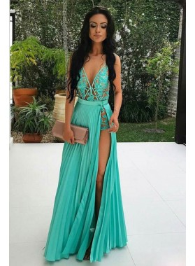 Sexy A Line Pleated V Neck Side Slit Lace Sage Ruch Floor Length 2020 Prom Dresses