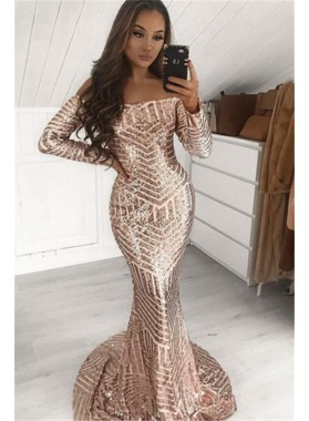2020 Sexy Mermaid Off Shoulder Long Sleeves Sequence Prom Dresses