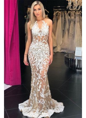 2020 Charming Sheath Champagne See Through Scoop Lace Prom Dresses