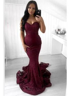 2020 Sexy Mermaid Sweetheart Burgundy Lace Long Prom Dresses