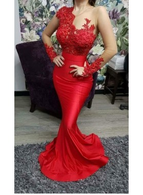 Sexy Mermaid Red Long Sleeves Appliques Satin Prom Dresses 2021