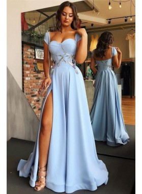 Cheap A Line 2020 Satin Sweetheart Blue Side Slit Capped Sleeves Prom Dresses