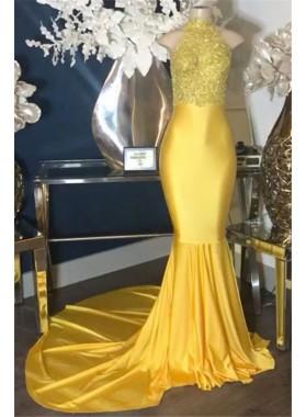 2021 New Arrival Mermaid Yellow High Neck Elastic Satin Prom Dresses With Appliques
