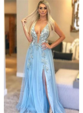 2020 Charming A Line Tulle Side Slit Light Sky Blue Deep V Neck Lace Prom Dresses