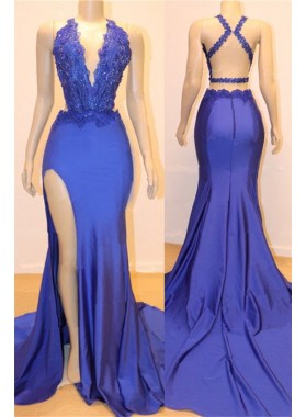 Amazing Sheath Side Slit Royal Blue V Neck Backless Lace Prom Dresses 2020