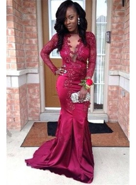 Cheap 2021 Burgundy Mermaid Satin Long Sleeves Open Front Lace Prom Dresses