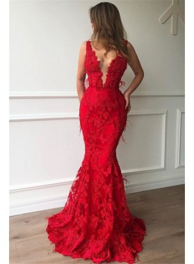 Sexy Red Mermaid V Neck Lace Charming 2020 Prom Dresses
