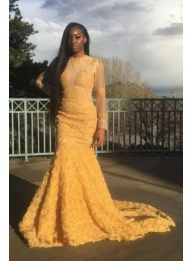 Cheap Yellow Long Sleeves Mermaid Tulle Rose Floral Prom Dresses 2020