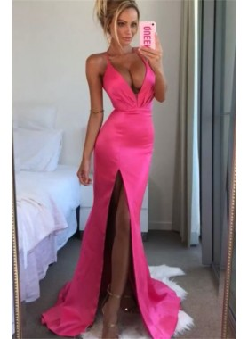 Sexy A Line Side Sheath Hot Pink Halter Open Front Elastic Satin 2020 Prom Dresses