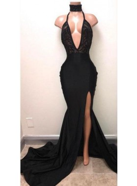 2020 Sexy Mermaid Deep V Neck Side Slit Black Halter Lace Prom Dresses