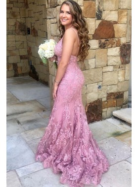 2020 Sexy Pink Mermaid Sweetheart Lace Backless Spaghetti Straps Prom Dresses