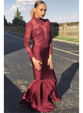 Charming Mermaid Burgundy Long Sleeves Elastic Satin Prom Dresses 2020 With Appliques