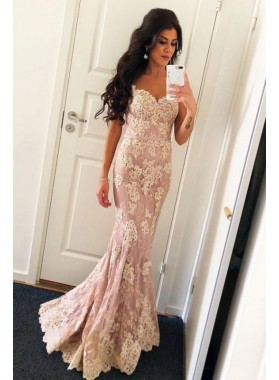 2020 Sexy Mermaid Sweetheart Dusty Rose Belt Lace Floor Length Prom Dresses