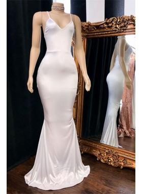 Cheap Mermaid White V Neck Backless Elastic Satin Prom Dresses 2020