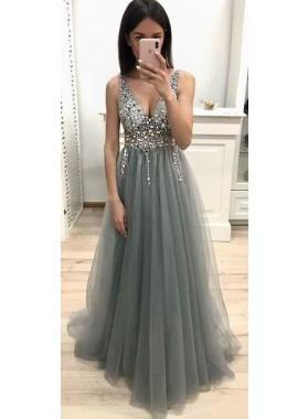 Cheap A Line V Neck Tulle Light Slate Gray Beaded Empire Prom Dresses 2020