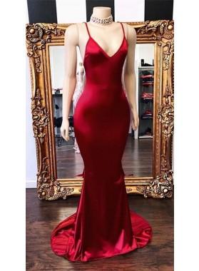 2020 New Arrival Red Mermaid V Neck Backless Elastic Satin Prom Dresses