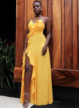 Cheap A Line Side Slit Yellow Halter Sweetheart Ruffle Chiffon Prom Dresses 2020