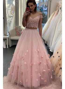 2021 Cheap A Line Pink Two Pieces Tulle Lace Off Shoulder Prom Dresses