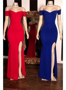2021 New Arrival Sheath Off Shoulder Royal Blue Red Sheath Sweetheart Side Slit Prom Dresses