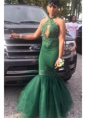 2021 Cheap Mermaid Hunter Green Halter Organza Open Front Lace Prom Dresses