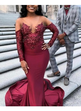 2021 Sexy Mermaid Burgundy Long Sleeves Stretchy Long Prom Dresses With Appliques
