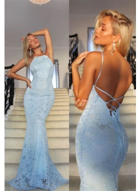 2021 Charming Lace Mermaid Backless Lace Up Back Blue Halter Prom Dresses