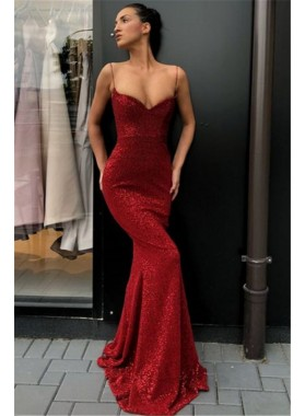 2021 Sexy Red Sweetheart Spaghetti Straps Sequence Long Prom Dresses
