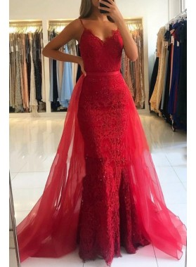 New Red Sheath 2021 V Neck Lace Detachable Tulle Prom Dresses