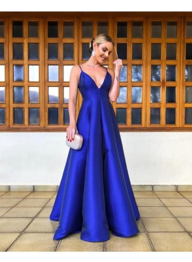 Cheap A Line Sweetheart Backless Royal Blue Satin Prom Dresses 2021