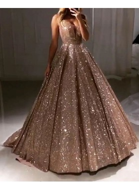 2021 New Arrival Sweetheart Sequence Champagne Ball Gown Prom Dresses