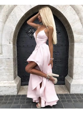 2021 Cheap A Line Satin High Low Blush Pink Sweetheart Satin Short Prom Dresses