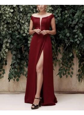 2021 New Arrival Burgundy Off Shoulder Open Front Side Slit Floor Length Prom Dresses
