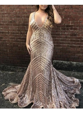 2021 Sexy Mermaid Sequence Dusty Rose V Neck Backless Long Prom Dresses