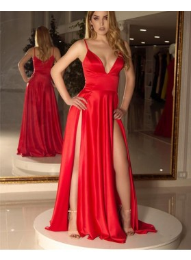 2021 Sexy A Line Red Side Slit Satin Sweetheart Long Prom Dresses