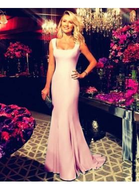 2021 Charming Sheath Pink Bateau Satin Long Blue Prom Dresses