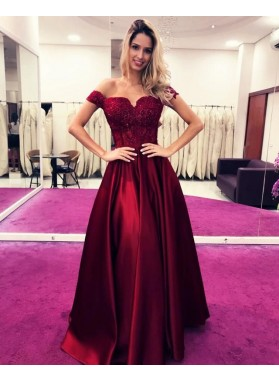 2021 New Arrival A Line Hunter Off Shoulder Sweetheart Burgundy Prom Dresses With Appliques