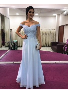 Cheap A Line Light Sky Blue Chiffon Off Shoulder Sweetheart Prom Dresses 2021