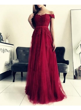 Cheap A Line Tulle Off Shoulder Sweetheart Burgundy Prom Dresses 2021