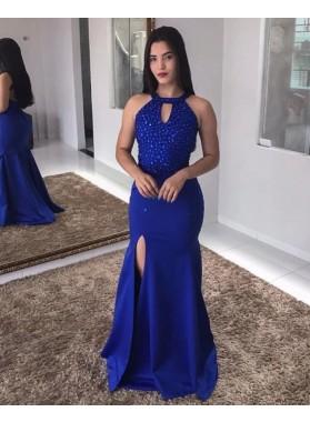 Cheap 2021 Royal Blue Sheath Side Slit Beaded Backless Halter Prom Dresses