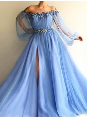 2021 New Arrival A Line Blue Side Slit Tulle Off Shoulder Long Sleeves Prom Dresses