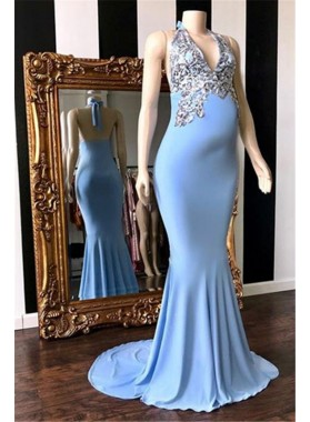 2021 Cheap Sheath Blue Halter Backless Beaded Maternity Prom Dresses