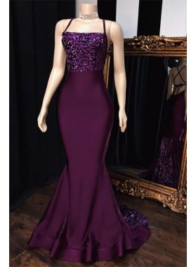 Sexy Grape Mermaid Halter Satin 2021 Lace Prom Dresses