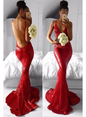 2021 Sexy Red Mermaid Backless V Neck Sequence Prom Dresses