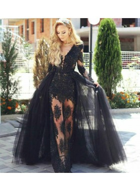 2021 Sexy Black Sheath Long Sleeves See Through Detachable Train Prom Dresses