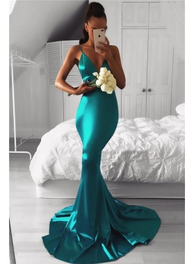 2021 Sexy Jade Mermaid Sweetheart Elastic Satin Backless Long Prom Dresses